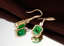 18ct Yellow Gold Stunning Natural Emerald & Diamond Drop Earrings VS Beauty