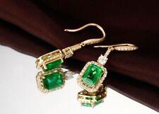 18ct Yellow Gold Stunning Natural Emerald & Diamond Drop Earrings VS Beauty