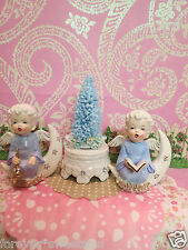 Vtg Blue Christmas Angel Babies On Gold Rhinestone Crescent Moons W Blue Tree