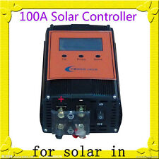 "2400W 100AMP Smart Solar Controller,DC 12V / 24V,3.5""LCD For 18V-54V Solar Panel"