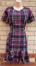 JANE NORMAN FISHTAIL ABSTRACT CHECK PRINT TUBE A LINE SUMMER FORMAL DRESS 10 S