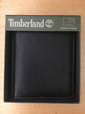 TIMBERLAND Cow Crunch Leather Passport Wallet Case Black NIB