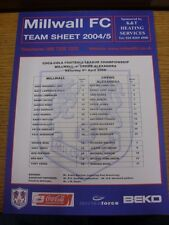 09/04/2005 Colour Teamsheet: Millwall v Crewe Alexandra . Thanks for viewing thi