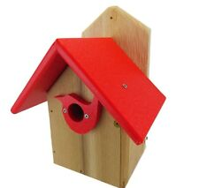 Post Mount Cedar Wren House w/ Red Poly Roof & Birdhouse Predator Guard Portal