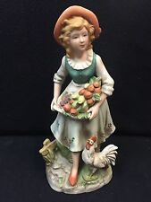 Home Interior #8881 Lady Figurine With Fruit In A Basket & A Chicken At Her Feet