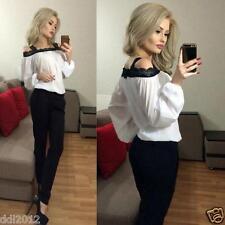 Women Sexy Off Shoulder Long Sleeve Shirt Chiffon Lace Blouse Loose T Shirt Tops