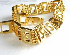 14K Yellow Gold Plated Band Link Bracelet 20cm 12mm Xmas Birthday Men Unisex