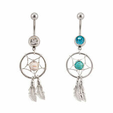 Dream catcher Belly Button Rings with  Gems 2pc