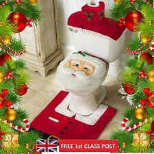 Santa Toilet Seat Cover Rug Bathroom Set 3 Pcs Christmas Decorations Happy Xmas