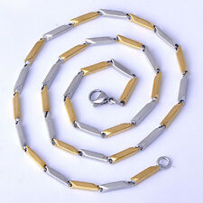 Authentic Men's Yellow/ White Gold Filled Square Chain Necklace Woman