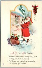 "Vintage Santa Claus Postcard ""A Joyous Christmas"" Hanging Holly on Roof 1924"