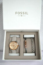 Ladies  Rose Gold Fossil Watch & Bracelets Gift Set Boxed BNWT New!