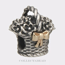 Authentic Pandora Sterling Silver & 14k Gold Forever Bloom Bead 790960 *SPECIAL*
