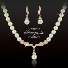 18K ROSE GOLD GF WEDDING PEARL NECKLACE EARRINGS SET Swarovski CRYSTAL EX333