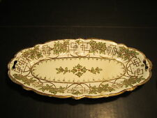 "Quality VTG Nippon China 12.5"" Long Serving Tray Gold & Raised Bead Decorated"