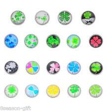 12PCs Snap Buttons Fit DIY Bracelets Four Leaf Clover Mixed 18mm