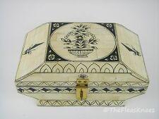 """Vintage Bone & Wood Trinket Box, Brass Latch, 9"""" x 5"""" x 4.5"""""""