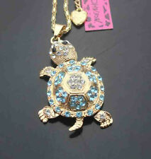 H504    Betsey Johnson Crystal shiny Turtle Pendant Sweater Chain Necklace