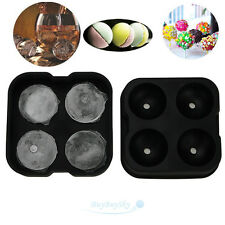 Round Ice Balls Maker lollipopTray FOUR Large Sphere Molds Cube Whiskey Cocktail