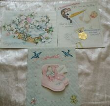 LOT 3 VINTAGE 1940'S CONGRATULATIONS NEW BABY CARDS
