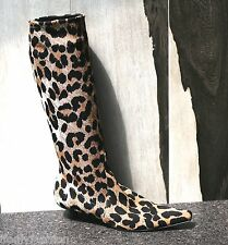 VINTAGE PRE-OWNED CASADEI FABRIC LEOPARD PRINT KNEE HIGH SOCK BOOTS SHOES US 9