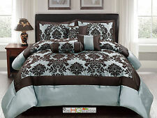 7P Silky Poly-Satin Flocking Damask Floral Square Comforter Set Blue Brown Queen