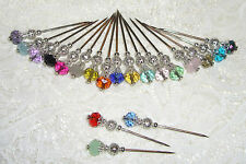 TPHH Your Choice 8 Crystal Glass Stick Hat Pins for Cards Albums Scrapbook Page