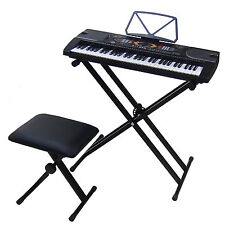 61 Keys LCD Teaching Keyboard DynaSun MK2085 with USB Piano Bench Stand Support