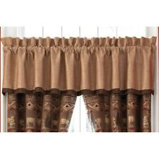 PONDERA CAFE BROWN PLAID & FAUX SUEDE RUSTIC LODGE TAILORED VALANCE