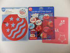 Partiotic American Flag Round Cake & Cupcake Stencil Lot of 2 by Wilton July 4