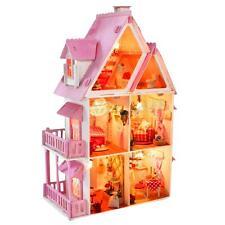 Kit Minatueres Maison de Poupée en Bois DIY Alice Dollhouse Lumineuse 3 étages