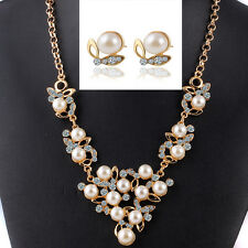NEW 1Set 18K Gold Plated Rhinestone Pearl Pendant Necklace Earrings LF