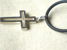 """STERLING SILVER  25mm x 20mm.CROSS PENDANT on a 18"""" BLACK RUBBER CORD £9.50 NWT"""