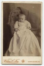 CABINET CARD SO CUTE BABY IN GOWN AND CROCHET SWEATER. HARRISBURG, PA.