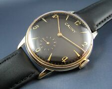 Rare Vintage Cauny Prima DeLuxe Gold Plated Black Dial Mens Watch 15J 1950s