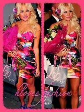 ��LIPSY Pixie Lott Dress UK 12 EU 40 Pink Multi NEW+TAGS Gorgeous Satin FAST����