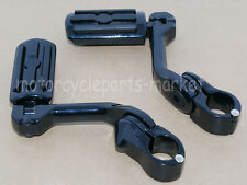 "1.25"" 1 1/4"" Black Adjustable Highway Long Mount Foot Pegs For Harley Davidson"