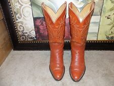 VINTAGE WOMENS JUSTIN SOLID REDDISH BROWN LEATHER COWBOY BOOTS SZ 6 C