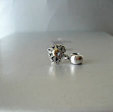 Authentic Pandora Charm Filled with Love with 14 KT Gold Dangle  1 piece