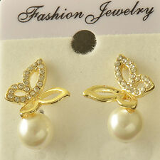 Vintage Lovely 14K Yellow Gold Filled CZ Pearl Womens Butterfly Stud earing