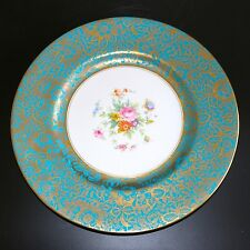 "MINTON BROCADE CHINA 10.5"" CABINET DISPLAY PLATE GOLD FILIGREE TURQUOISE BOUQUET"