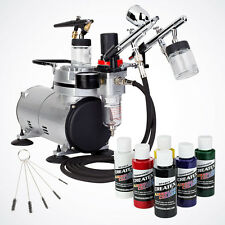 Complete Airbrush Kit Air Compressor 6 Primary Color 3 Airbrush Hobby Auto Paint