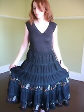 Mexican Broomstick Skirt Ornately Beaded Embroidery Dangle Pom Pom Ball Trim L