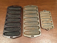 VINTAGE Lot of 3 CAST IRON Corn-Cob Shaped CORN BREAD MUFFIN STICK BAKING PANS