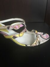 Emilio Pucci Multi Color Rhinestone Design Satin Sandals Size 8