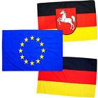 Fahnen SET NIEDERSACHSEN EUROPA DEUTSCHLAND 90x150 cm NEU & OVP - BRD Flagge