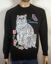 vtg 80s retro AMAZING loud Neon Lazer Cats Sweatshirt raglan Puffy Graphics L