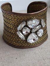 Deanna Hamro Jewelry Swarovski Pave Jewel cuff woven brass, copper and sterling