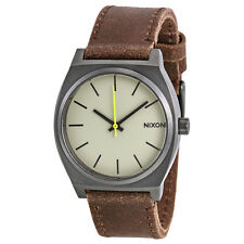 Nixon Time Teller Silver Dial Calfskin Leather Mens Watch A0451388