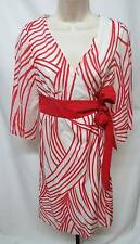 Tibi Wrap Dress Red Swirled Cotton Silk Crossover V-Neck 6